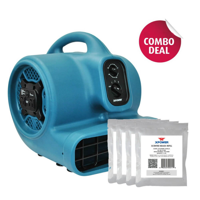 XPOWER P-450AT Scented Air Mover with Timer, Power Outlets & 5 Aroma Beads Sample Packs