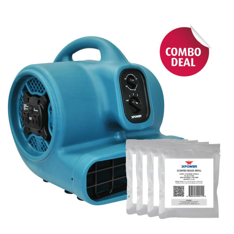 XPOWER P-450NT Scented Air Mover with Timer, Ionizer & 5 Aroma Beads Sample Packs