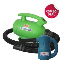 XPOWER B-55 Green Home Pet Dryer & A-2 Blue Airrow Pro Multi-Use Electric Duster Combo Pack