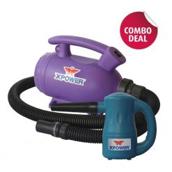 XPOWER B-55 Purple Home Pet Dryer & A-2 Blue Airrow Pro Multi-Use Electric Duster Combo Pack