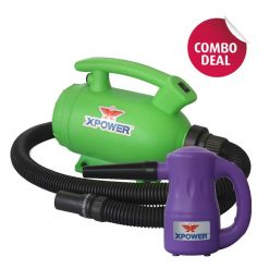 XPOWER B-55 Green Home Pet Dryer & B-53 Purple Multipurpose Electric Blower Combo Pack