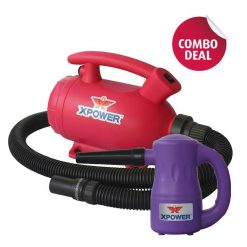 XPOWER B-55 Pink Home Pet Dryer & B-53 Purple Multipurpose Electric Blower Combo Pack