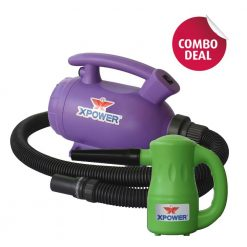 XPOWER B-55 Purple Home Pet Dryer & B-53 Green Multipurpose Electric Blower Combo Pack