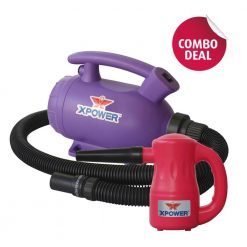 XPOWER B-55 Purple Home Pet Dryer & B-53 Pink Multipurpose Electric Blower Combo Pack