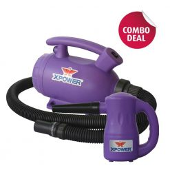XPOWER B-55 Purple Home Pet Dryer & B-53 Purple Multipurpose Electric Blower Combo Pack