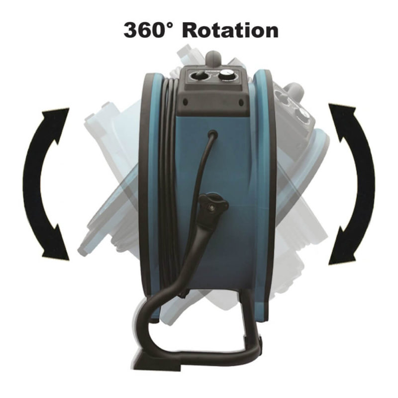 Rack/stand included allowing 360-degree rotation for multiple drying positions