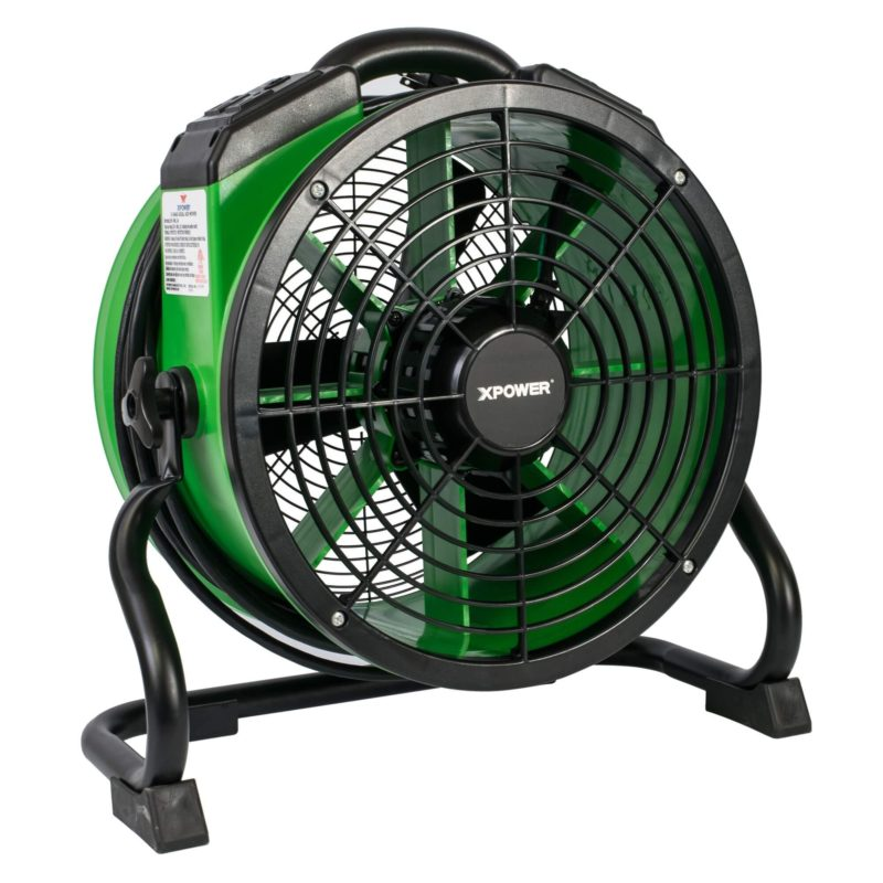 XPOWER X-34AR 1/4 HP Sealed Motor Variable Speed Industrial Axial Fan with Power Outlets - Green