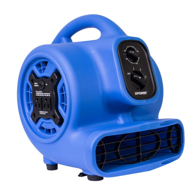 XPOWER P-230AT 1/5 HP Mini Air Mover with Timer & Power Outlets