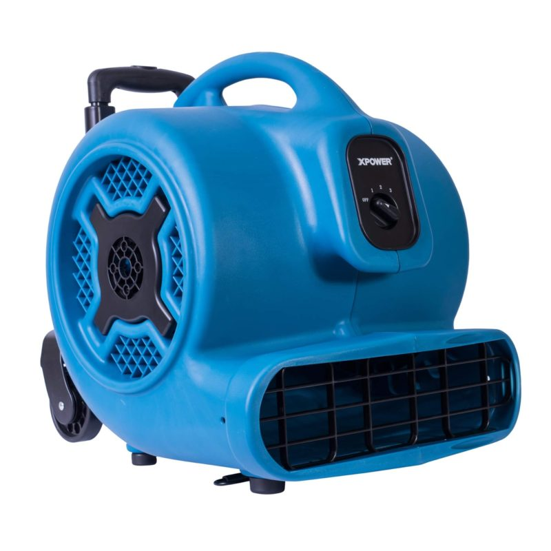 XPOWER P-830H 1 HP Air Mover, Carpet Dryer, Floor Fan, Blower with Handle & Wheels